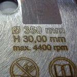 diamantovy kotouc 350 x 30 mm - detail oznaceni